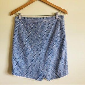 NWT Loft woven blue & white wrap skirt fringe